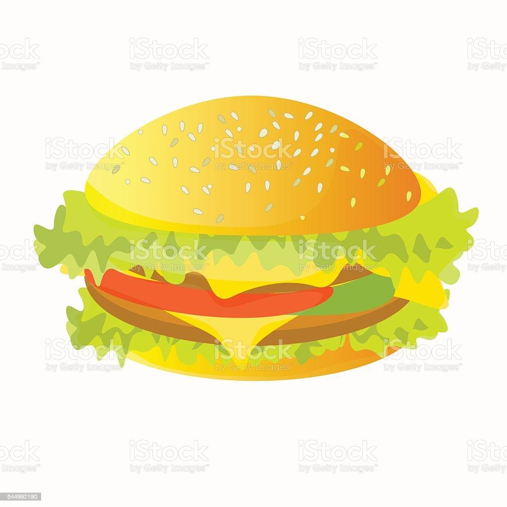 front view of a hamburger. vector illustration vector art illustration