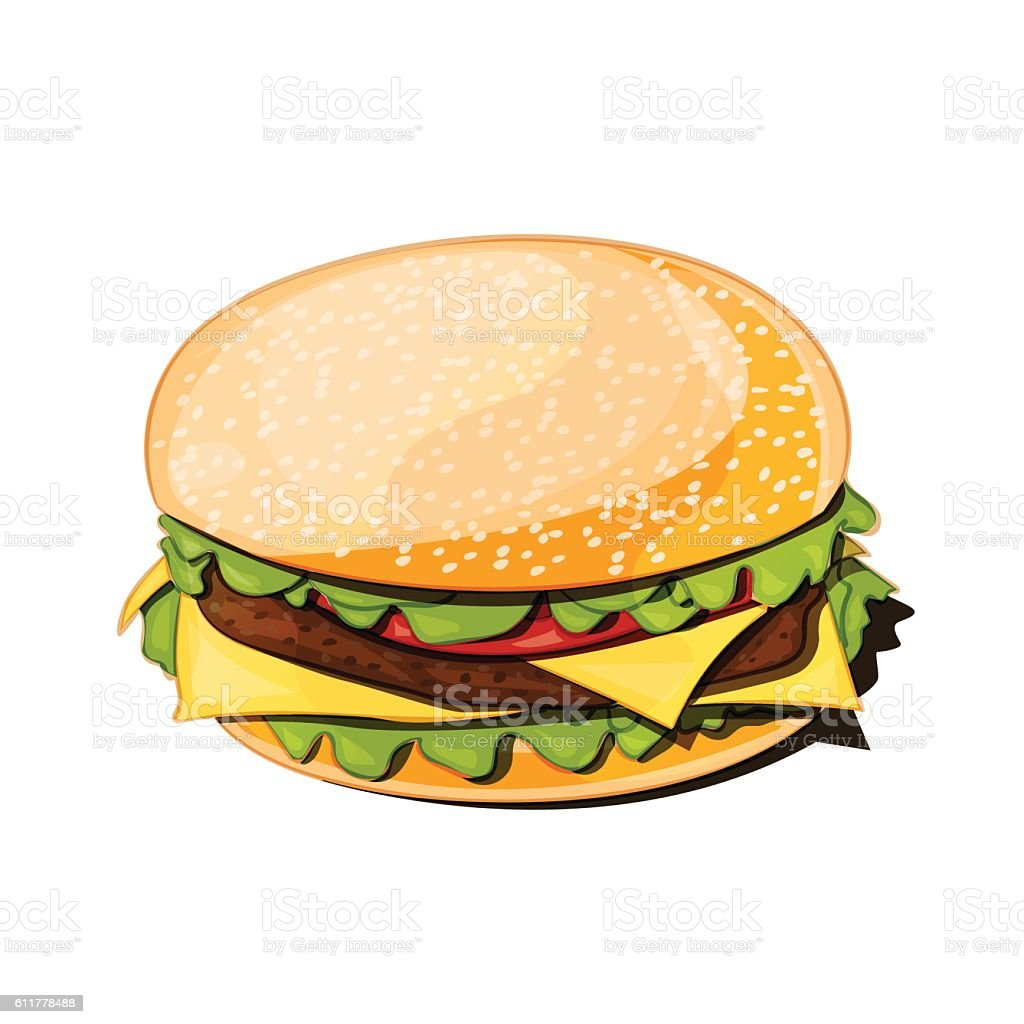 front view of a hamburger vector illustration vector art illustration