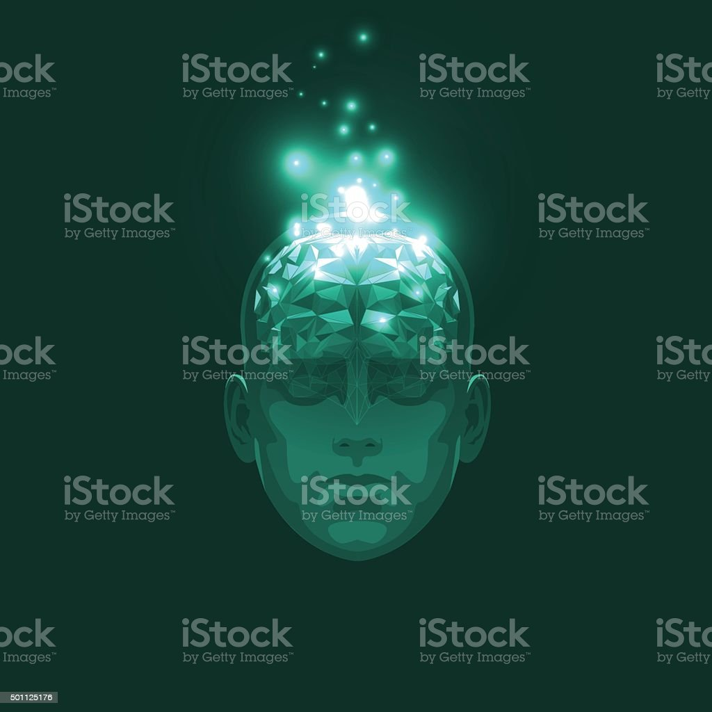 Front View of Abstract Human Head with a Brain vector art illustration