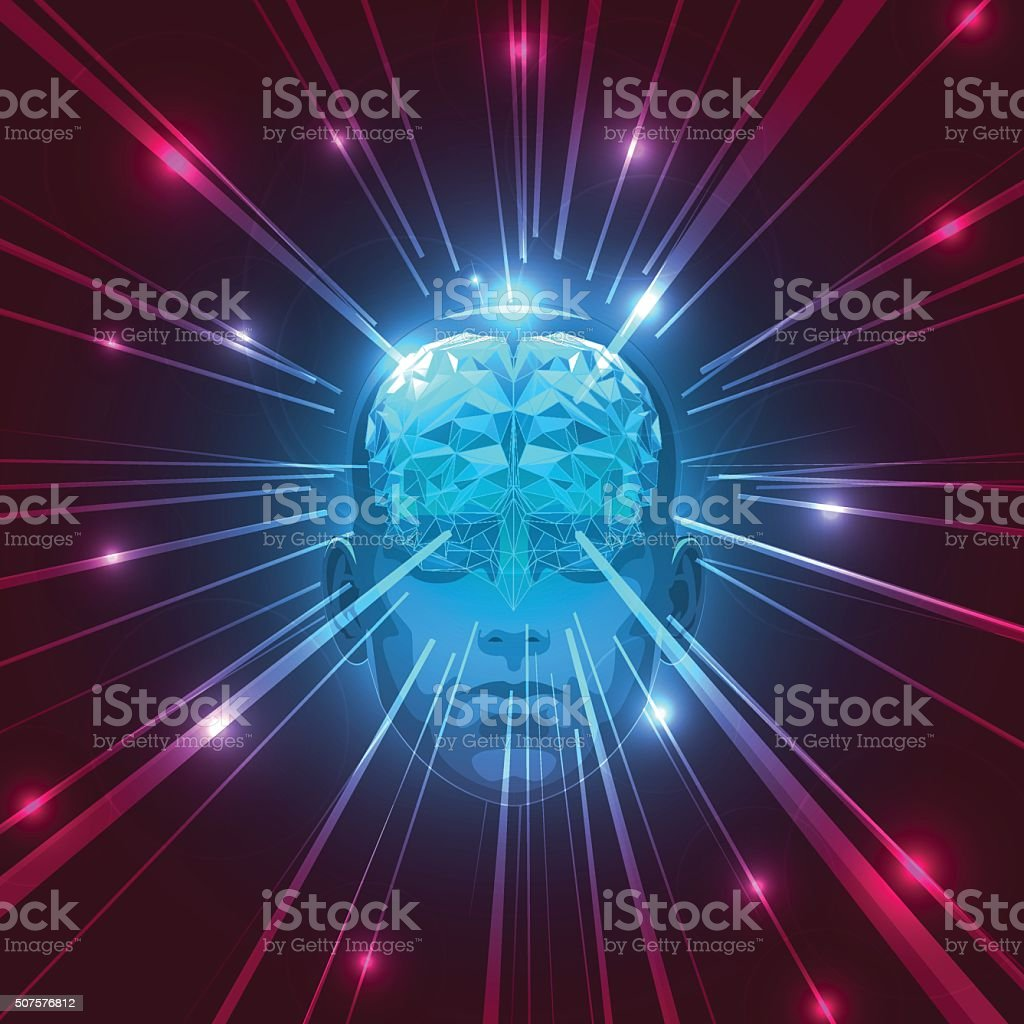 Front View of Abstract Human Head with a Brain. vector art illustration