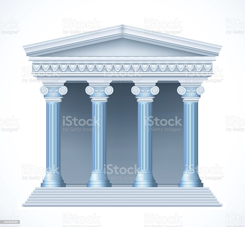 Front view of an antique greek blue temple. Vector vector art illustration