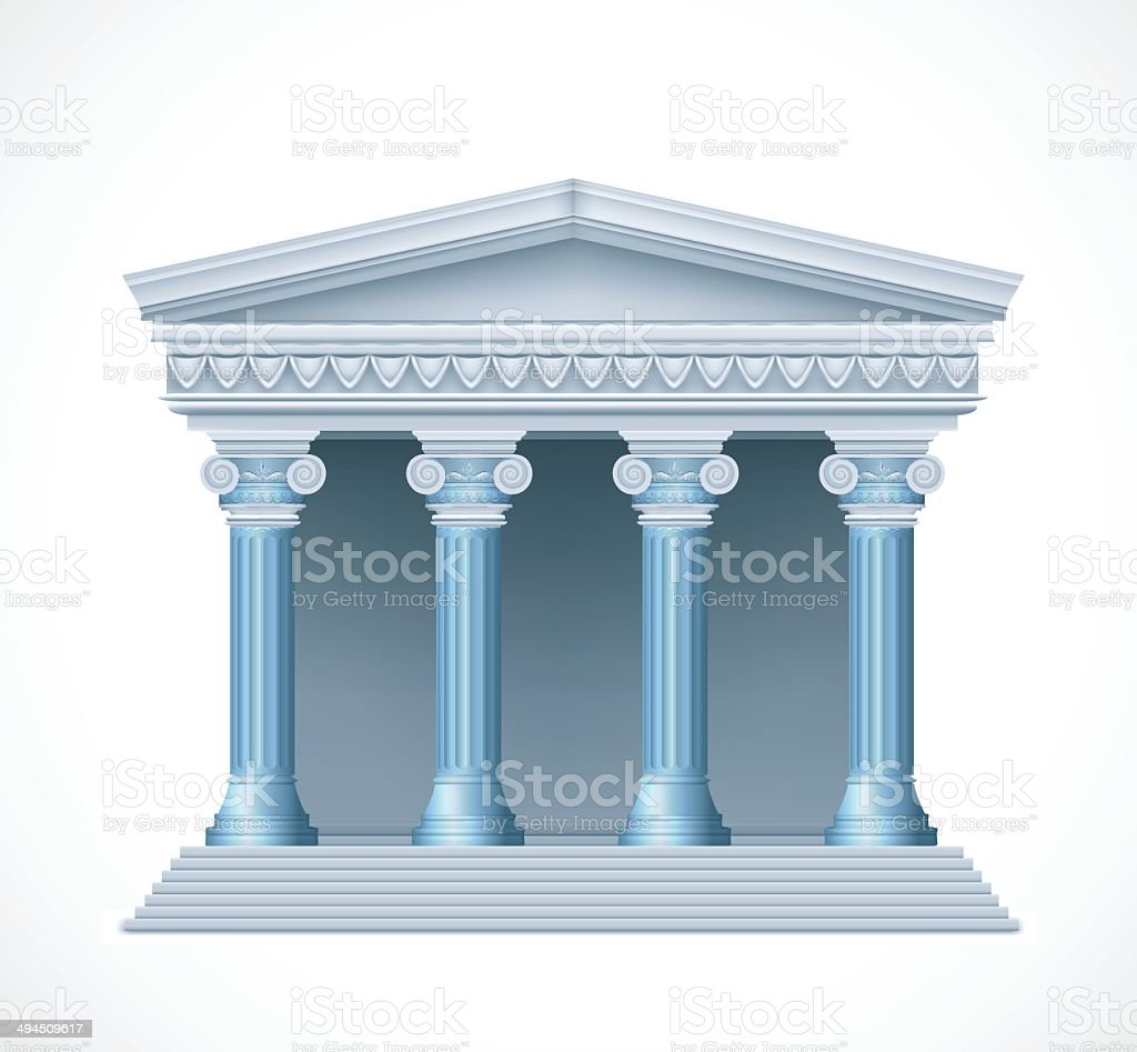 Front view of an antique greek blue temple. Vector royalty-free stock vector art