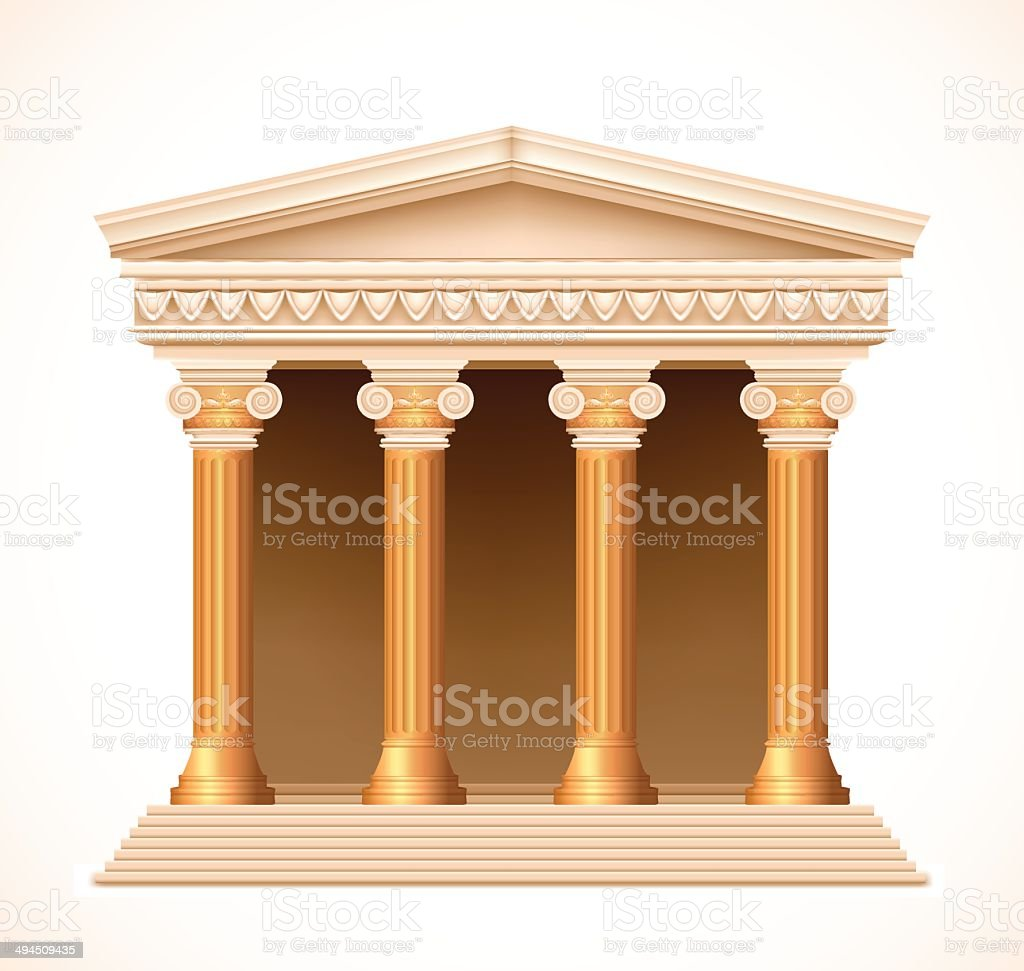 Front view of an antique greek gold temple. Vector royalty-free stock vector art