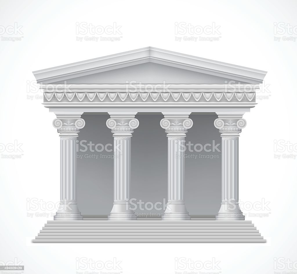 Front view of an antique greek temple. Vector royalty-free stock vector art