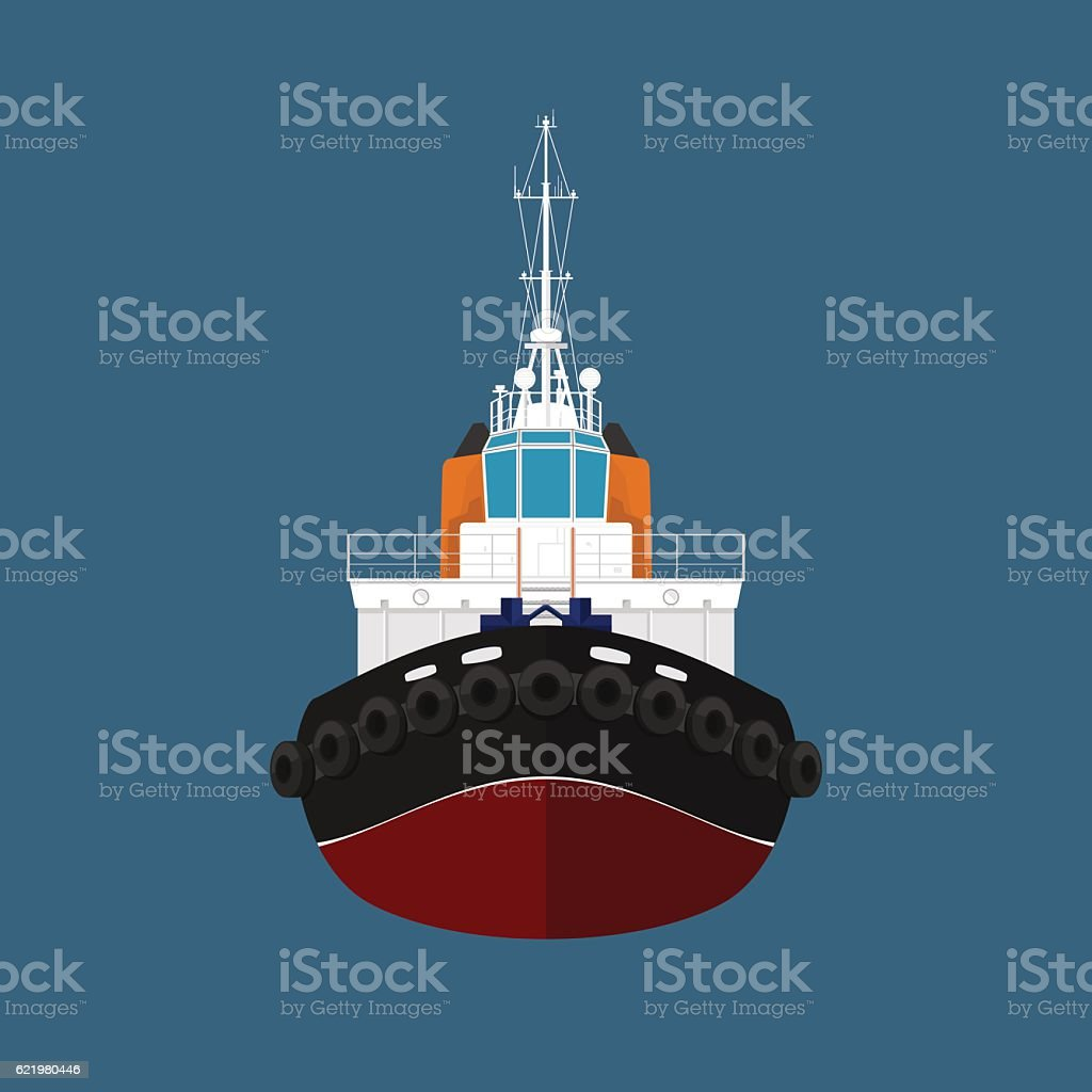 Front View of Push Boat vector art illustration