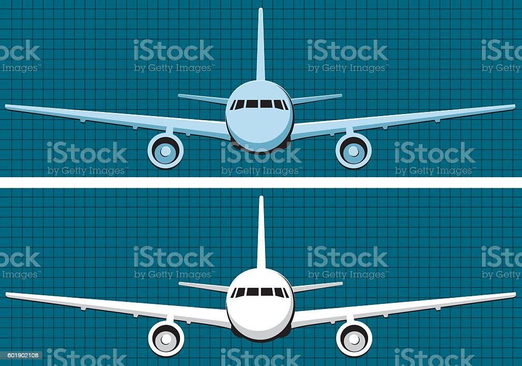 Front view plane vector art illustration