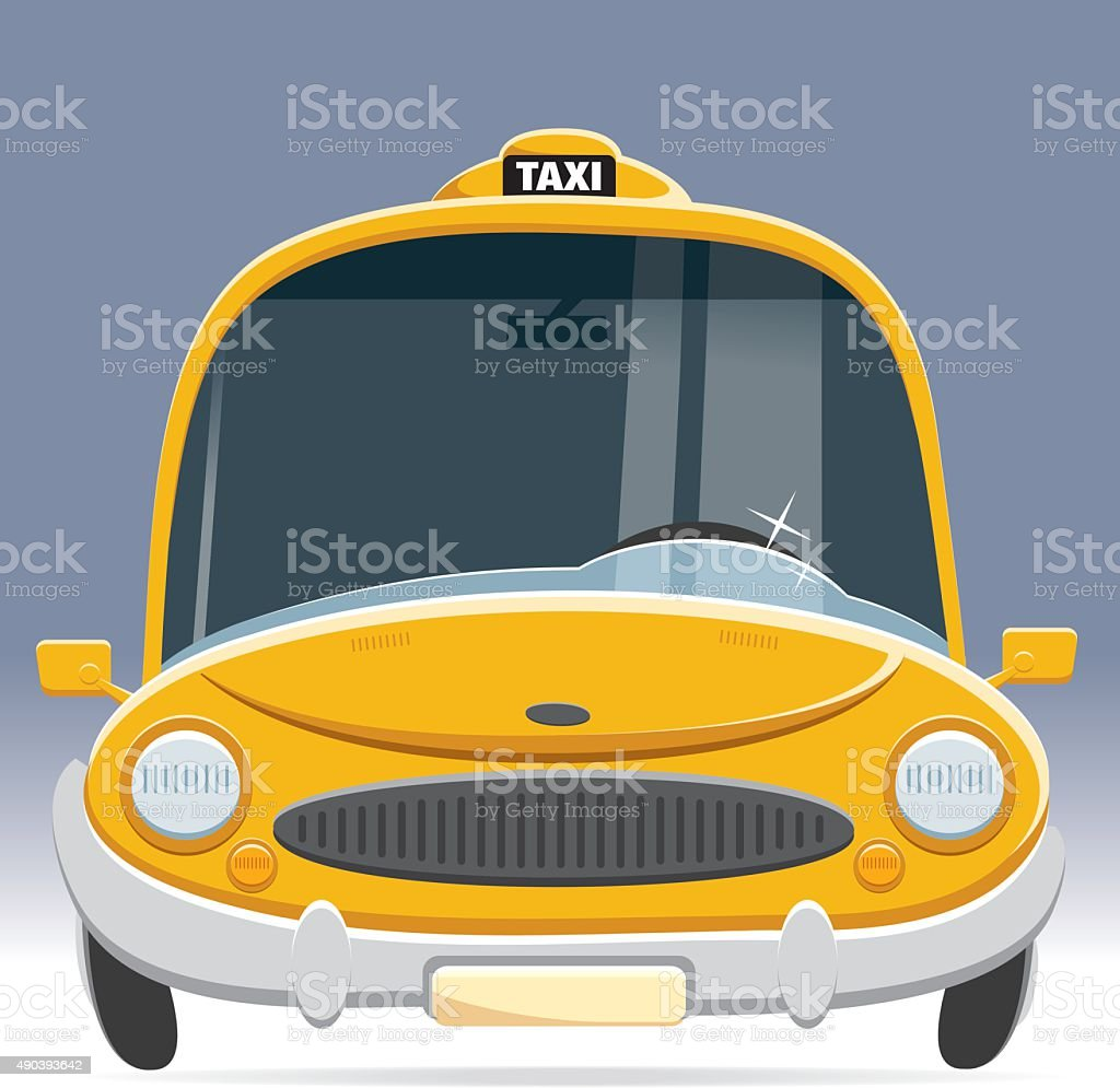 front view taxi vector art illustration