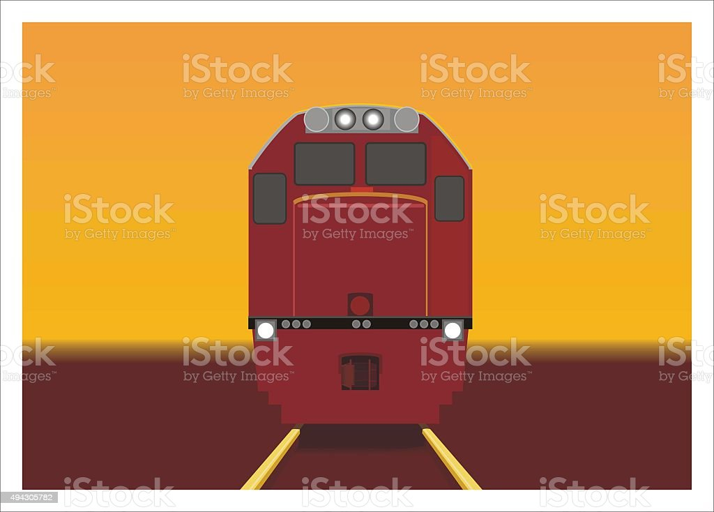 front view train perspective in afternoon vector art illustration