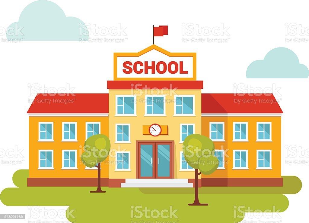 Front yard of school building. vector art illustration