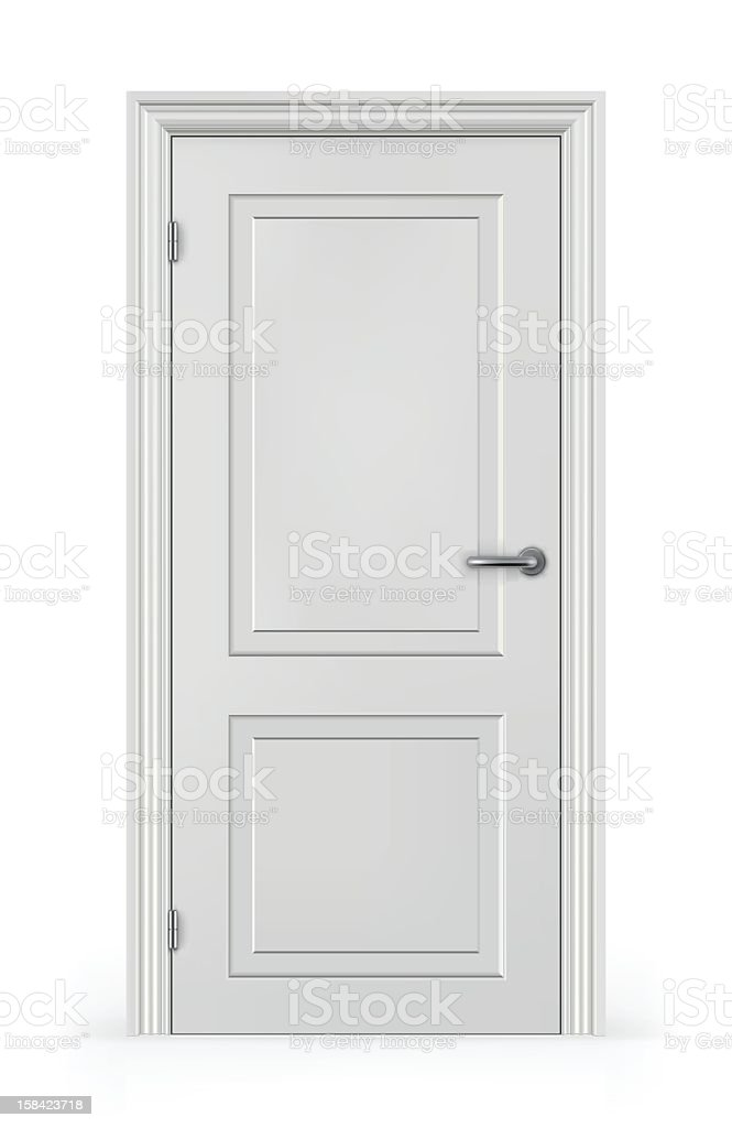 Frontal view of a closed white door vector art illustration