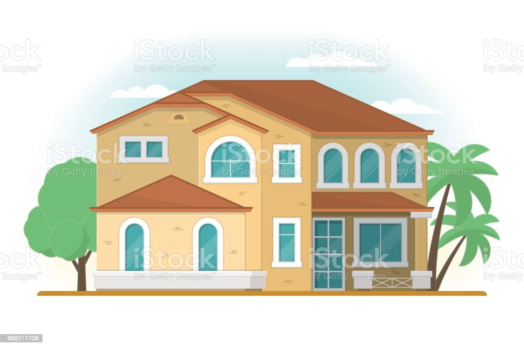Frontview of USA Arizona style suburban private house. Flat desi vector art illustration