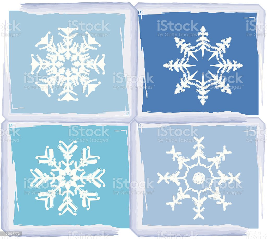 frost & snow, snowflakes in frosted frame royalty-free stock vector art