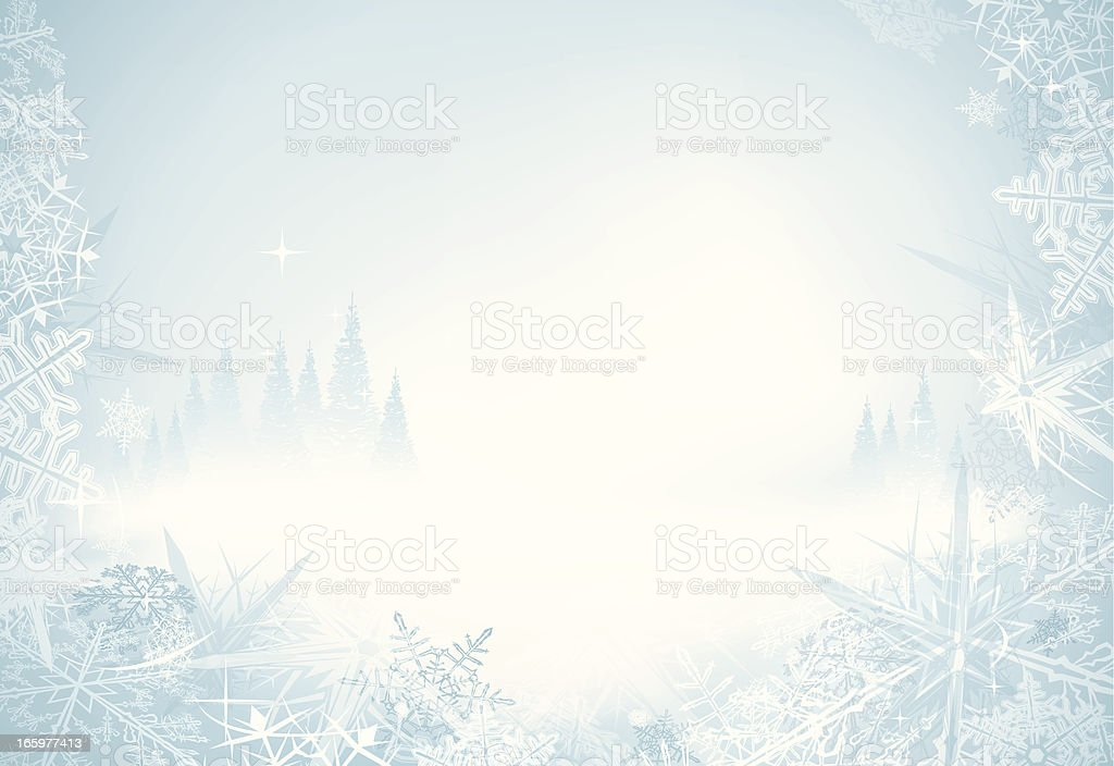 A frosty icy wintery background with long stars vector art illustration