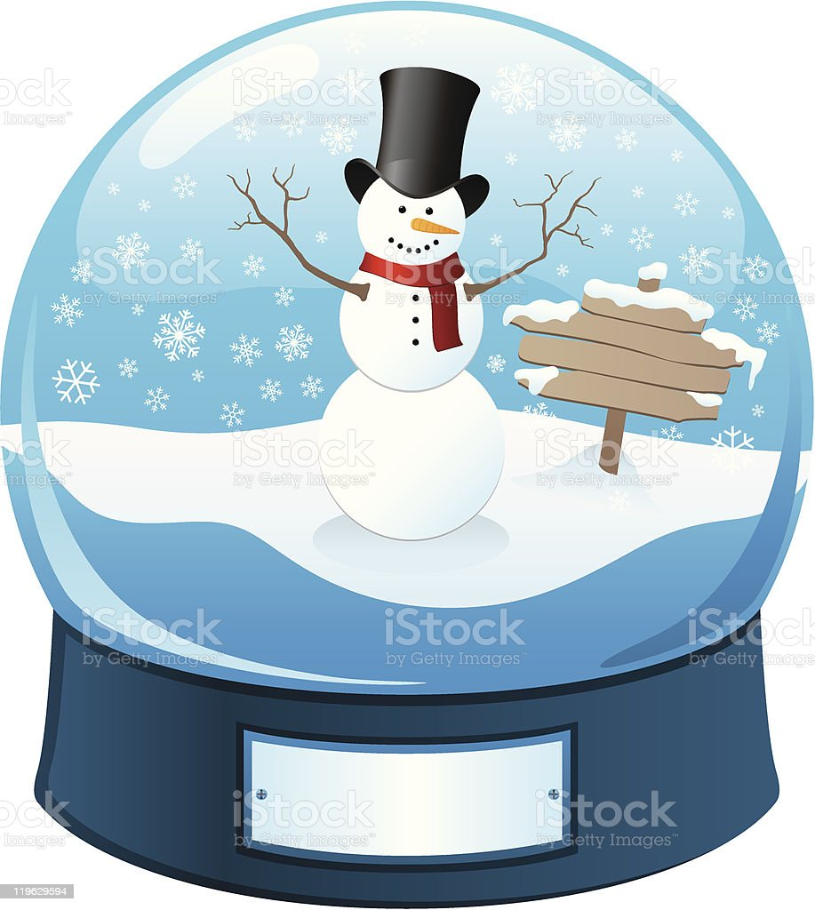 Frosty the Snowman Snow Globe royalty-free stock vector art