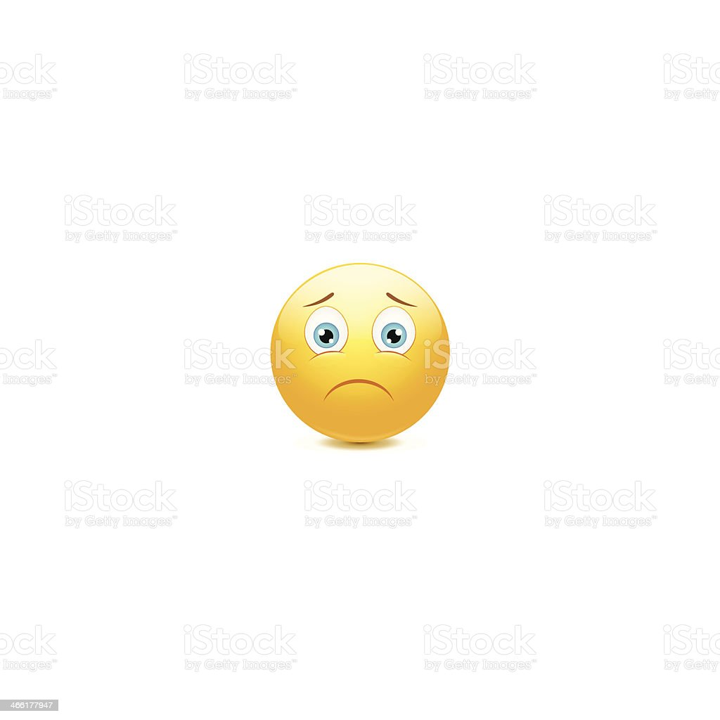 A frowning yellow face emoticon on a white background vector art illustration