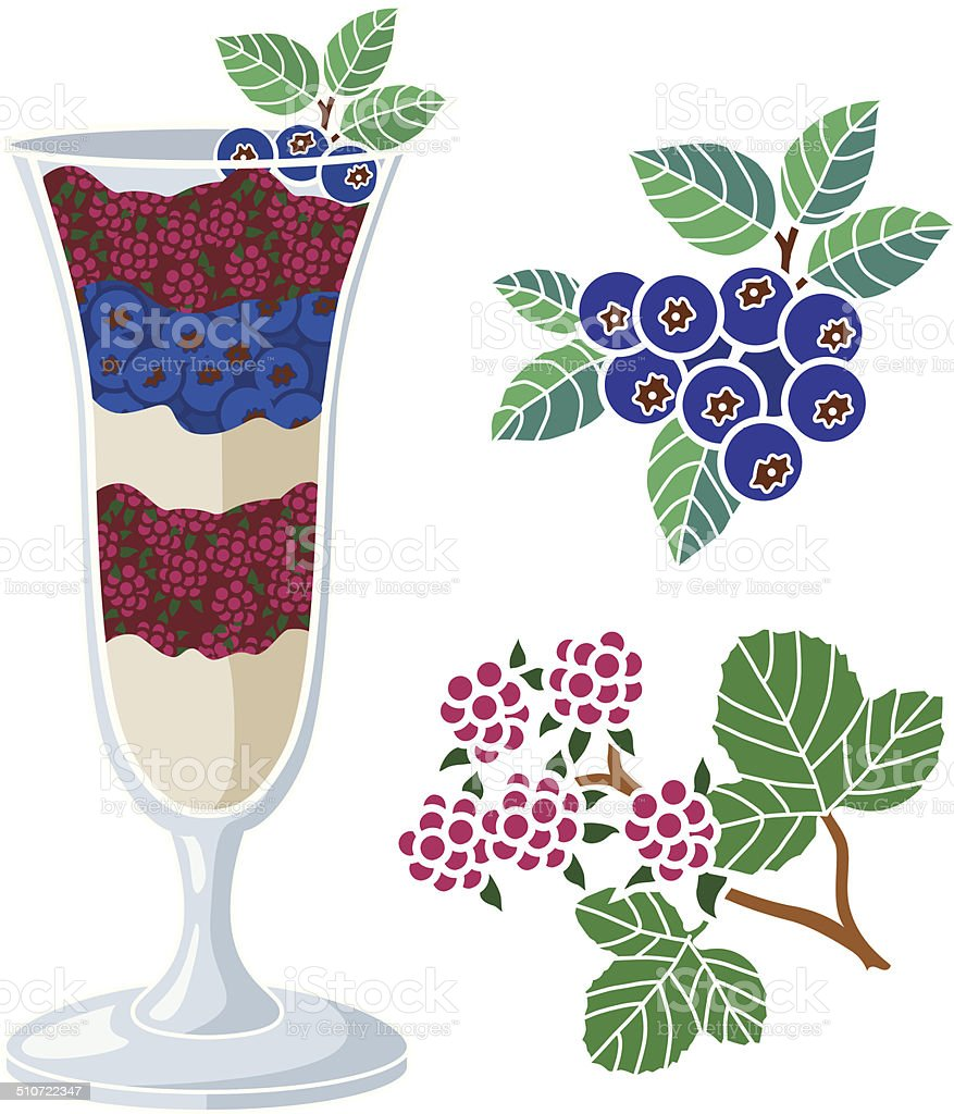 frozen berry dessert vector art illustration