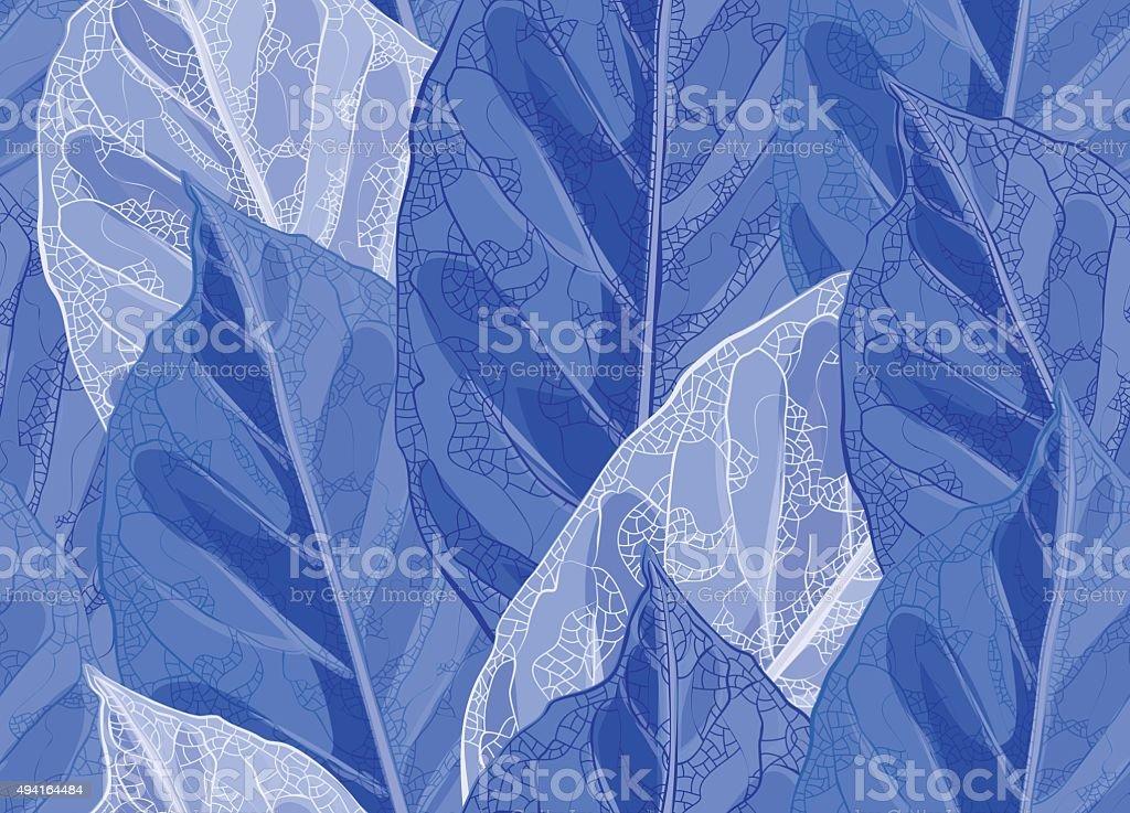 Frozen leaves vector pattern vector art illustration