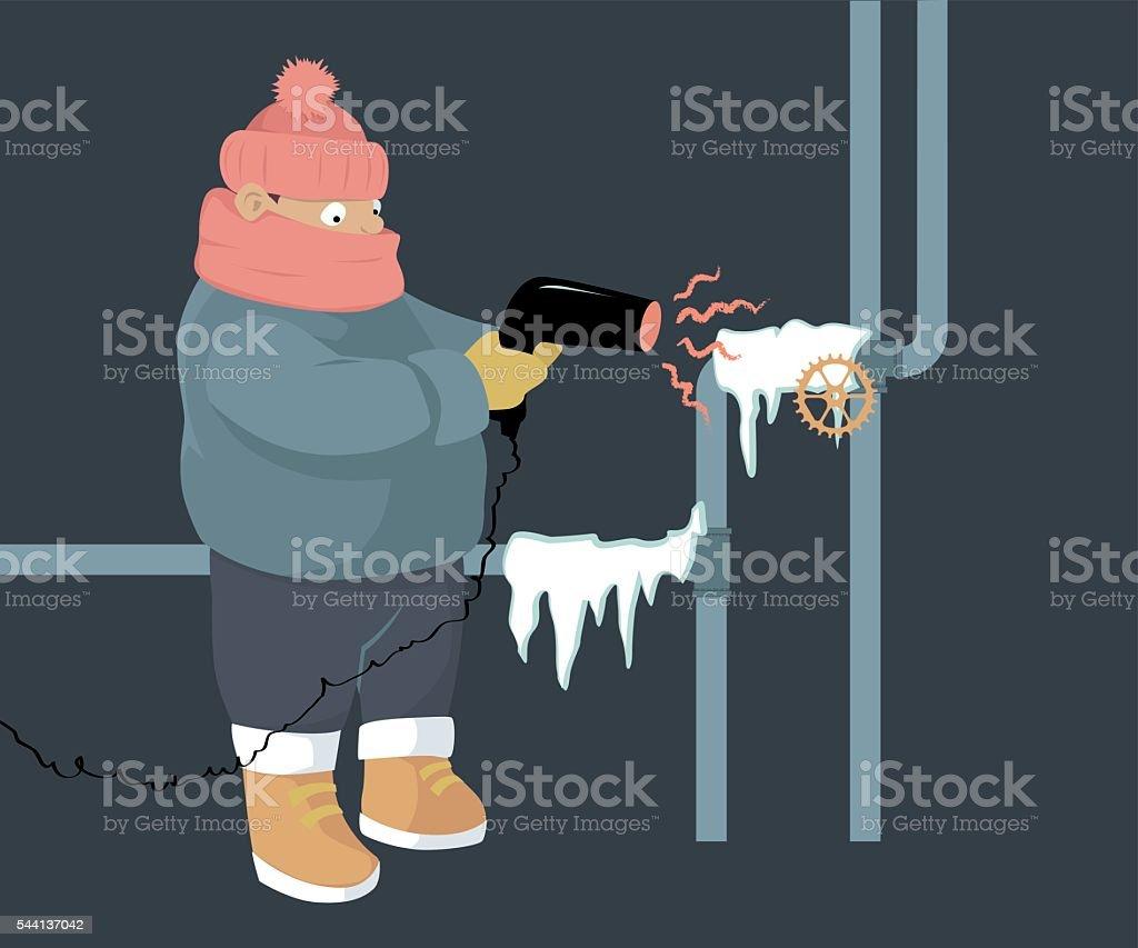 Frozen pipes vector art illustration