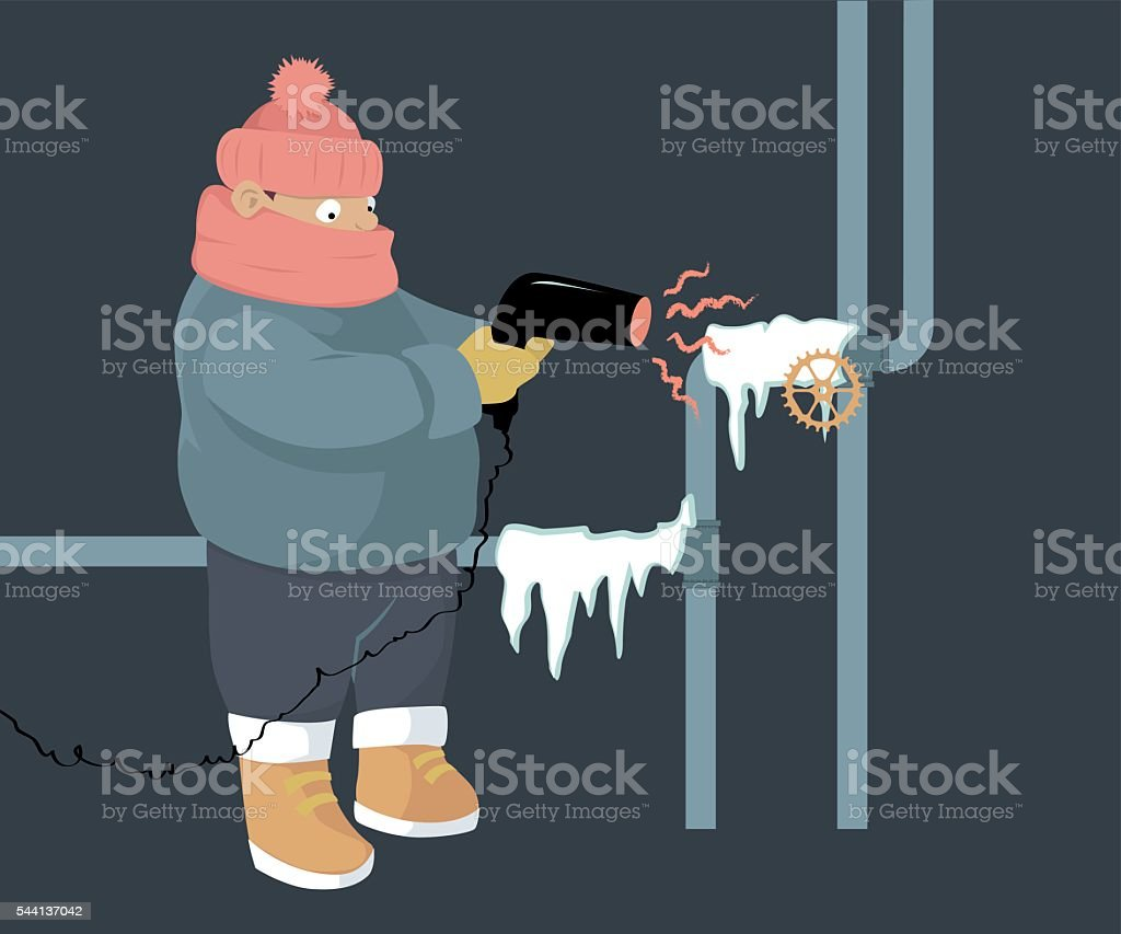 Frozen pipes vector art illustration