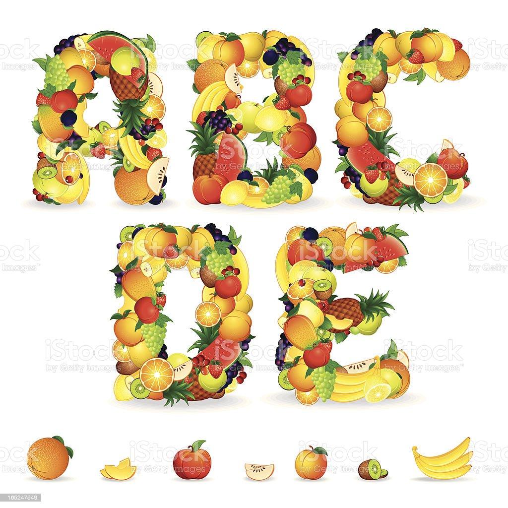 Fruit Alphabet. Vector royalty-free stock vector art