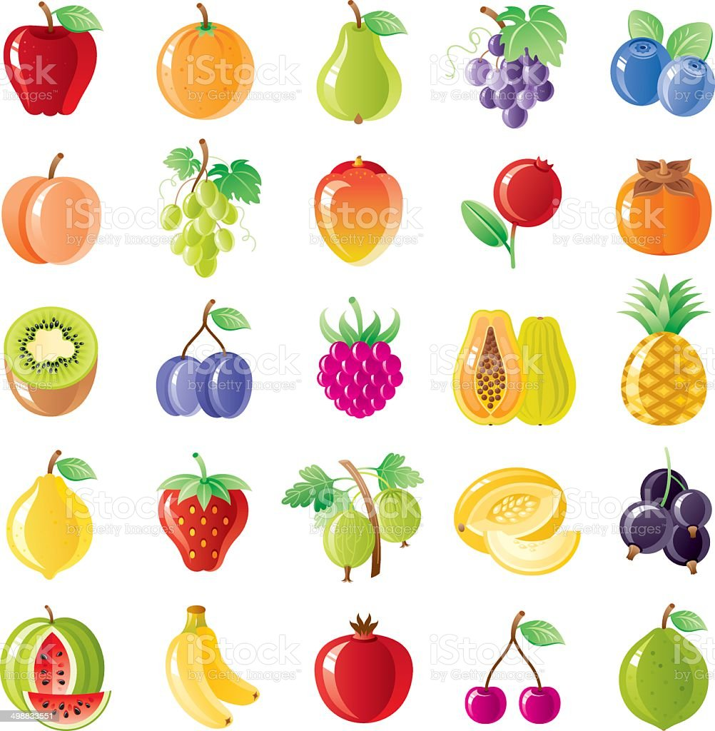 Fruit and berries icon set vector art illustration