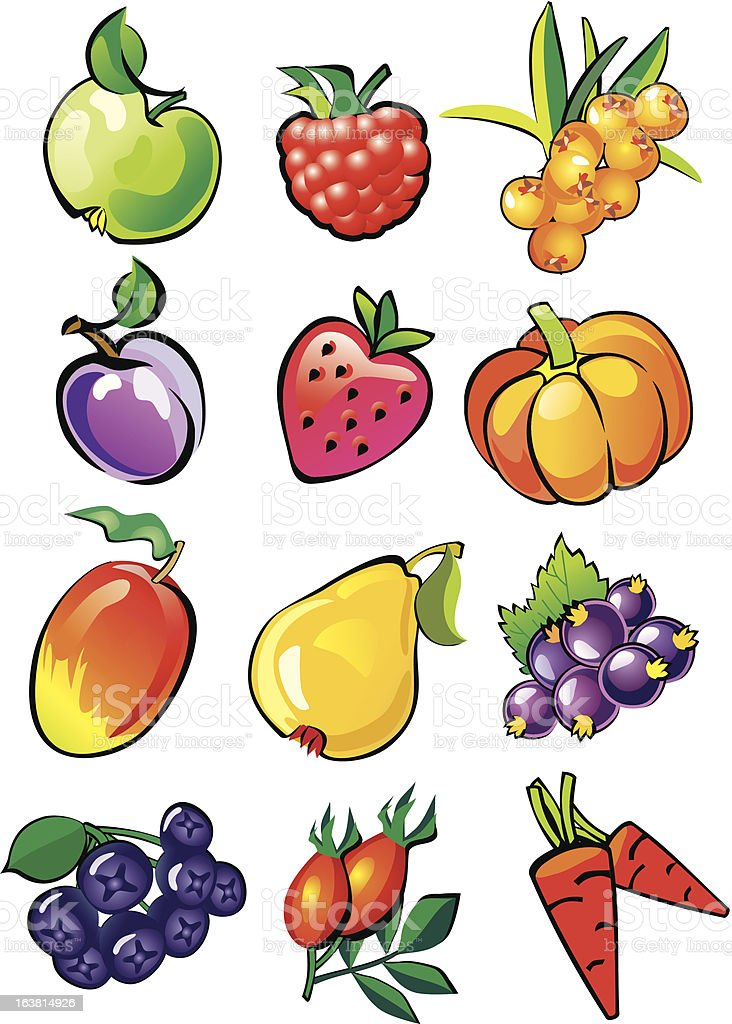 Fruit and berries royalty-free stock vector art
