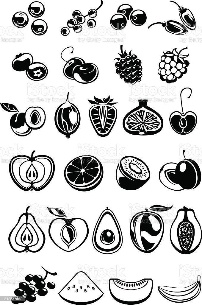 fruit and berry icons vector art illustration