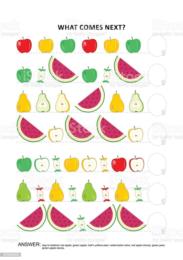 Fruit and berry themed educational logic game - sequential pattern recognition vector art illustration