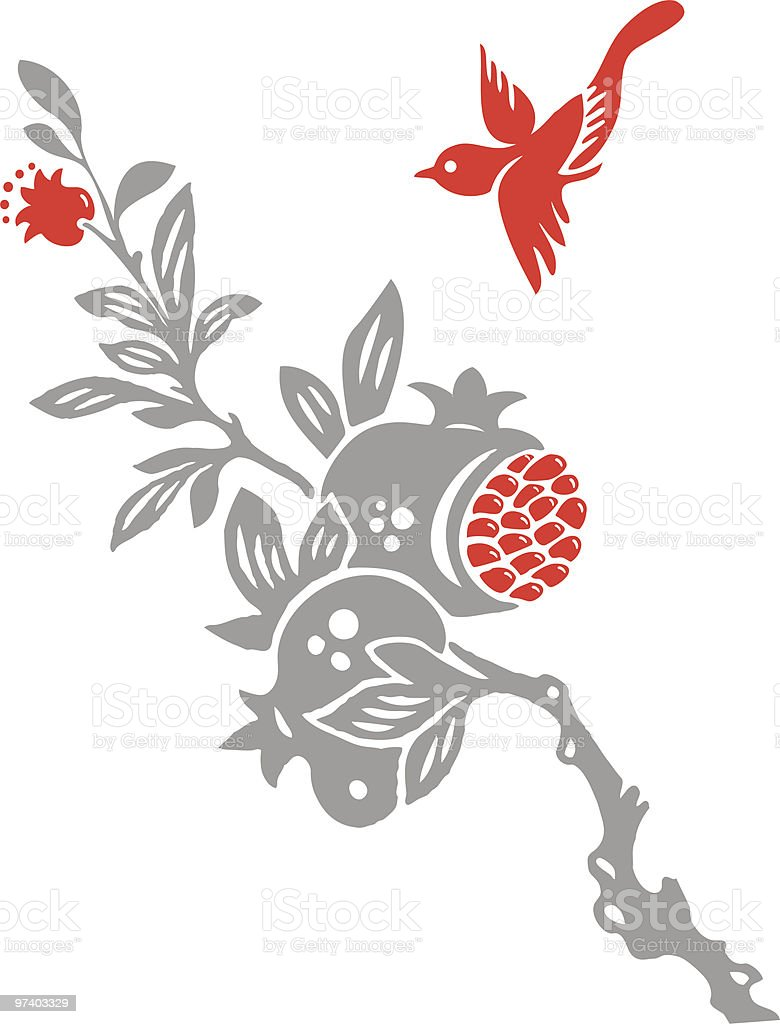 Fruit and Bird royalty-free stock vector art