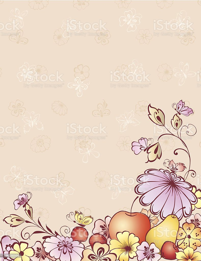 fruit and butterflies royalty-free stock vector art