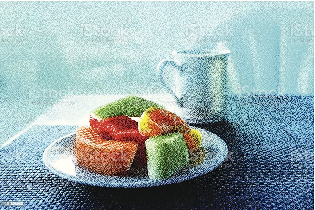 Fruit And Coffee Breakfast royalty-free stock vector art