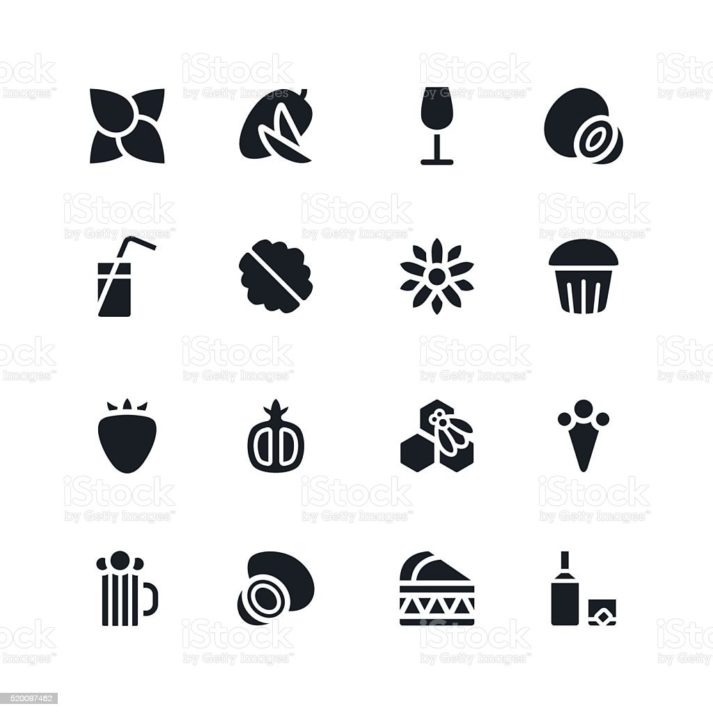 Fruit and desert icons in flat style vector art illustration