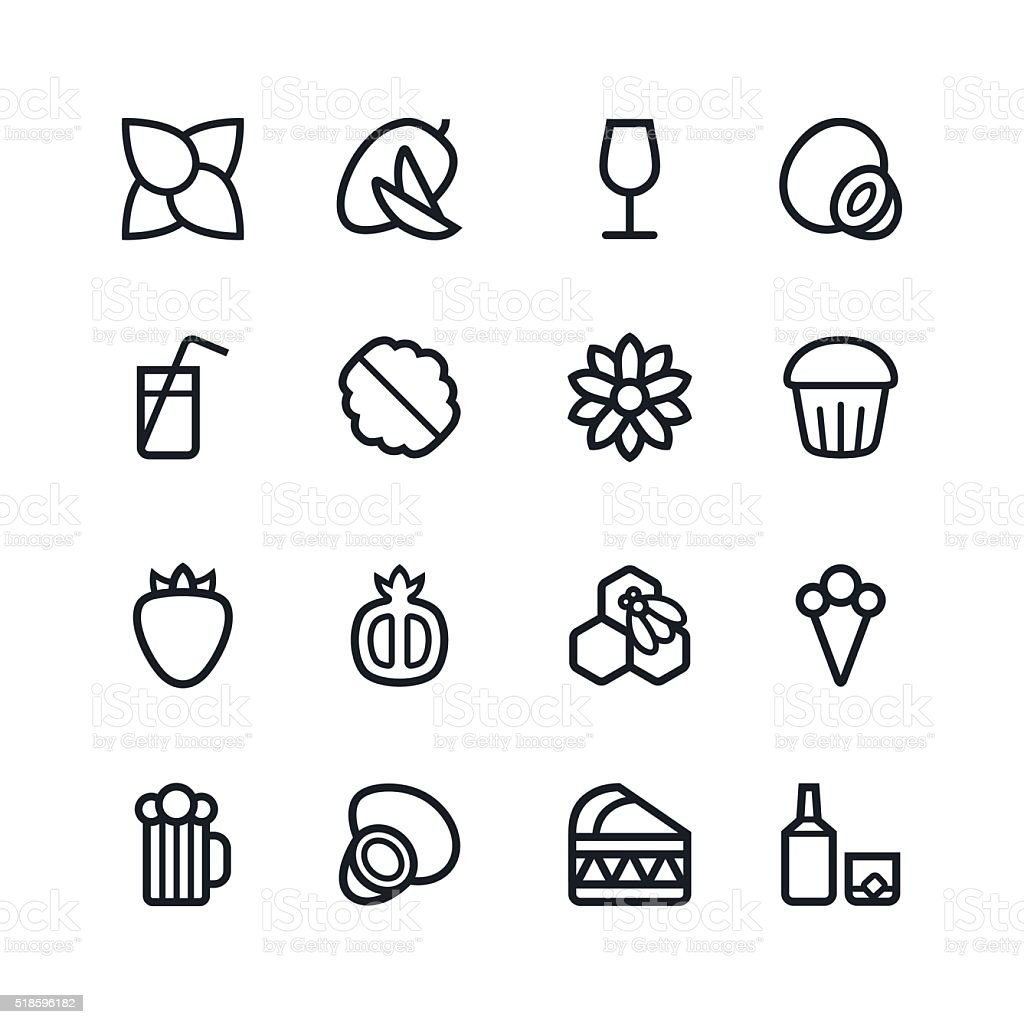 Fruit and desert icons in thin line style vector art illustration