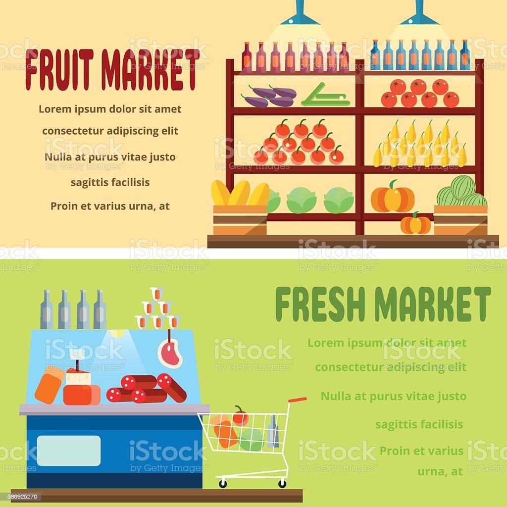 Fruit and fresh market stock vecteur libres de droits libre de droits