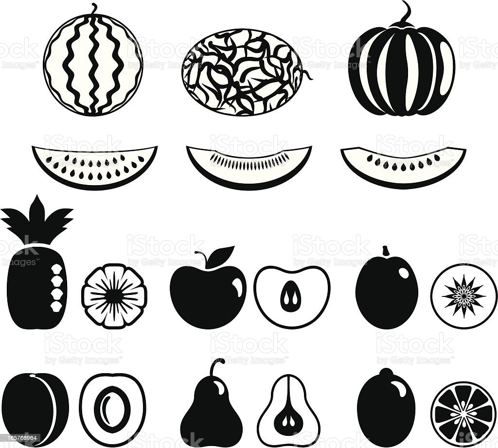 Fruit and melons icons royalty-free stock vector art