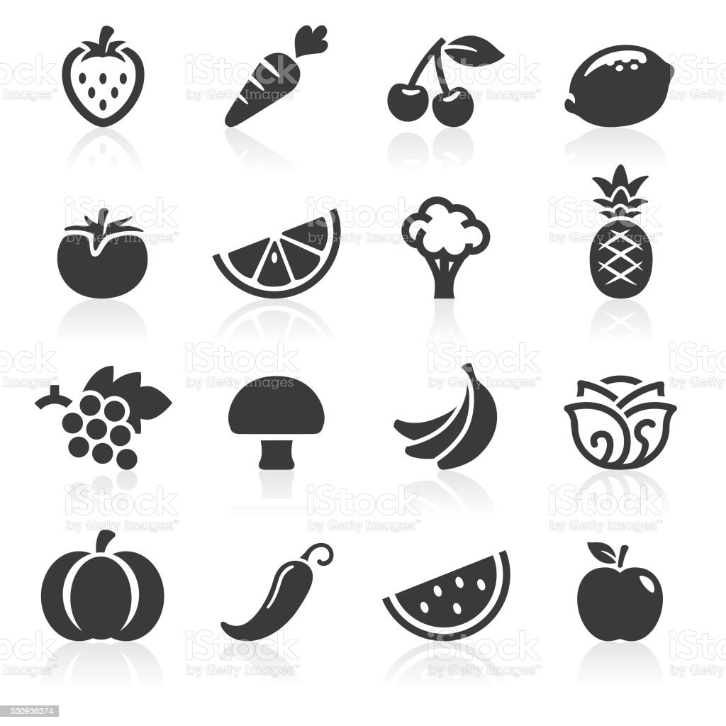 Fruit and Veg Icons vector art illustration