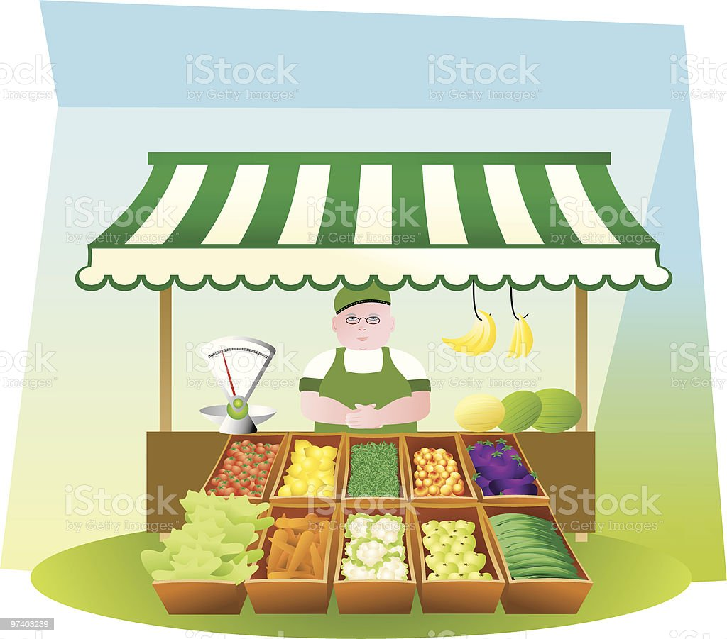 Fruit and veg stall royalty-free stock vector art
