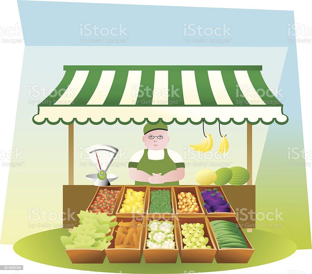 Fruit and veg stall vector art illustration