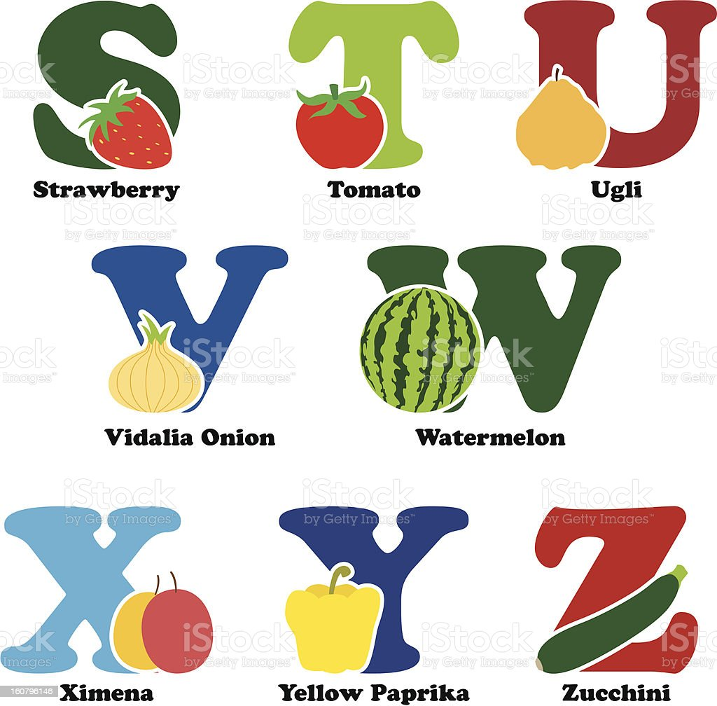 Fruit and vegetable alphabet royalty-free stock vector art