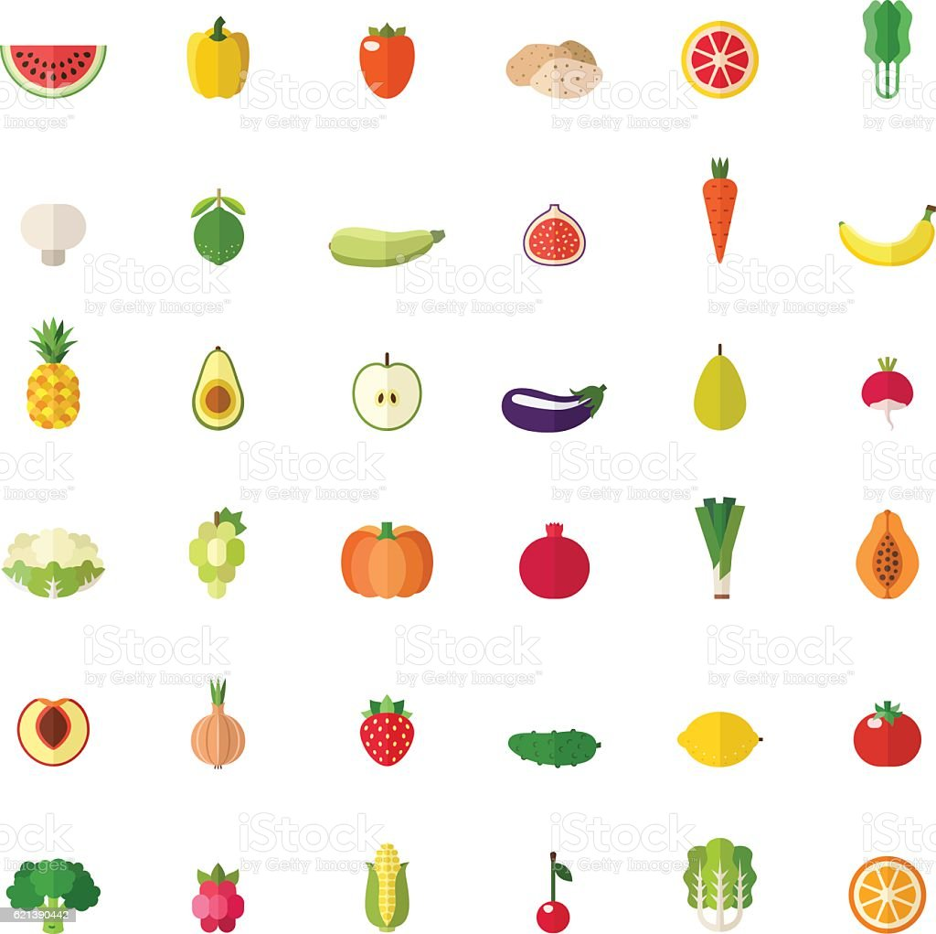 Fruit and vegetable big flat icons set. vector art illustration