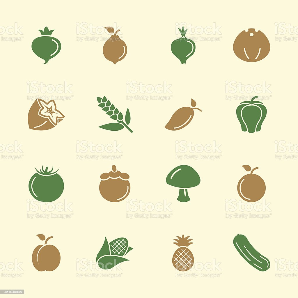 Fruit and Vegetable Icons 2 - Color Series | EPS10 royalty-free stock vector art