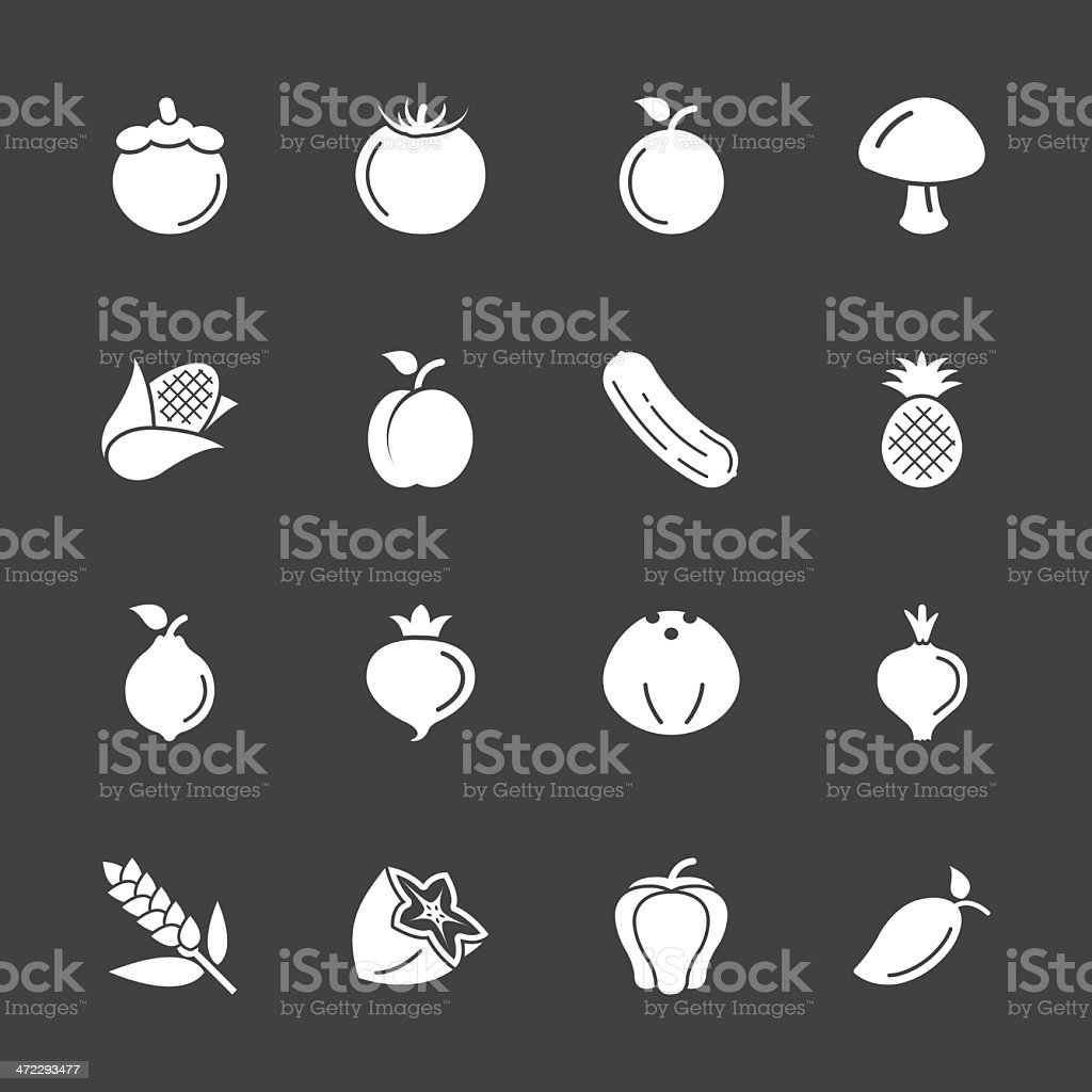 Fruit and Vegetable Icons 2 - White Series | EPS10 royalty-free stock vector art