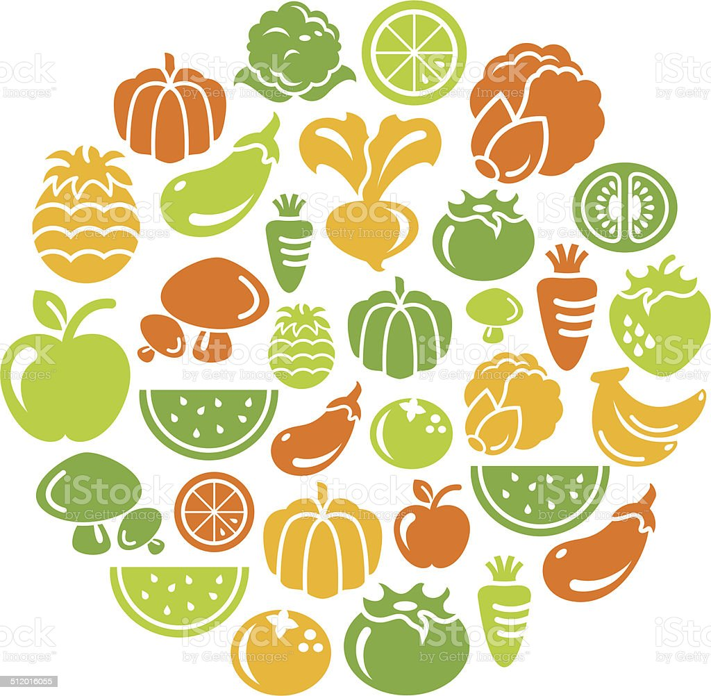 Fruit and Vegetable Icons in Circle Shape vector art illustration