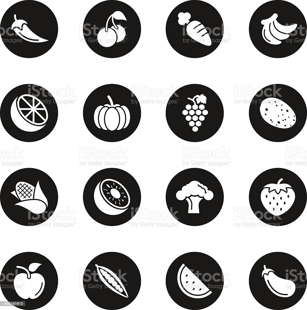 Fruit and Vegetable Icons Set 1 - Black Circle Series vector art illustration