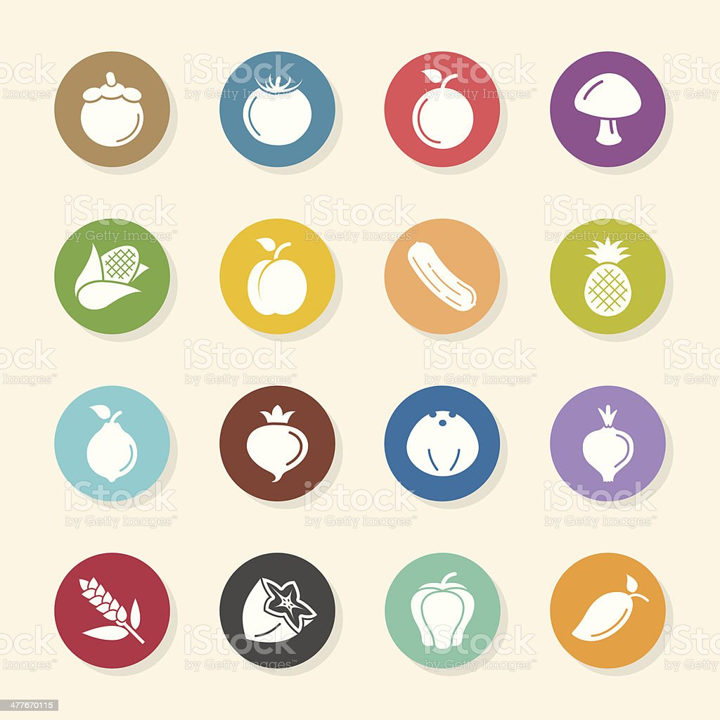Fruit and Vegetable Icons Set 2 - Color Circle Series vector art illustration