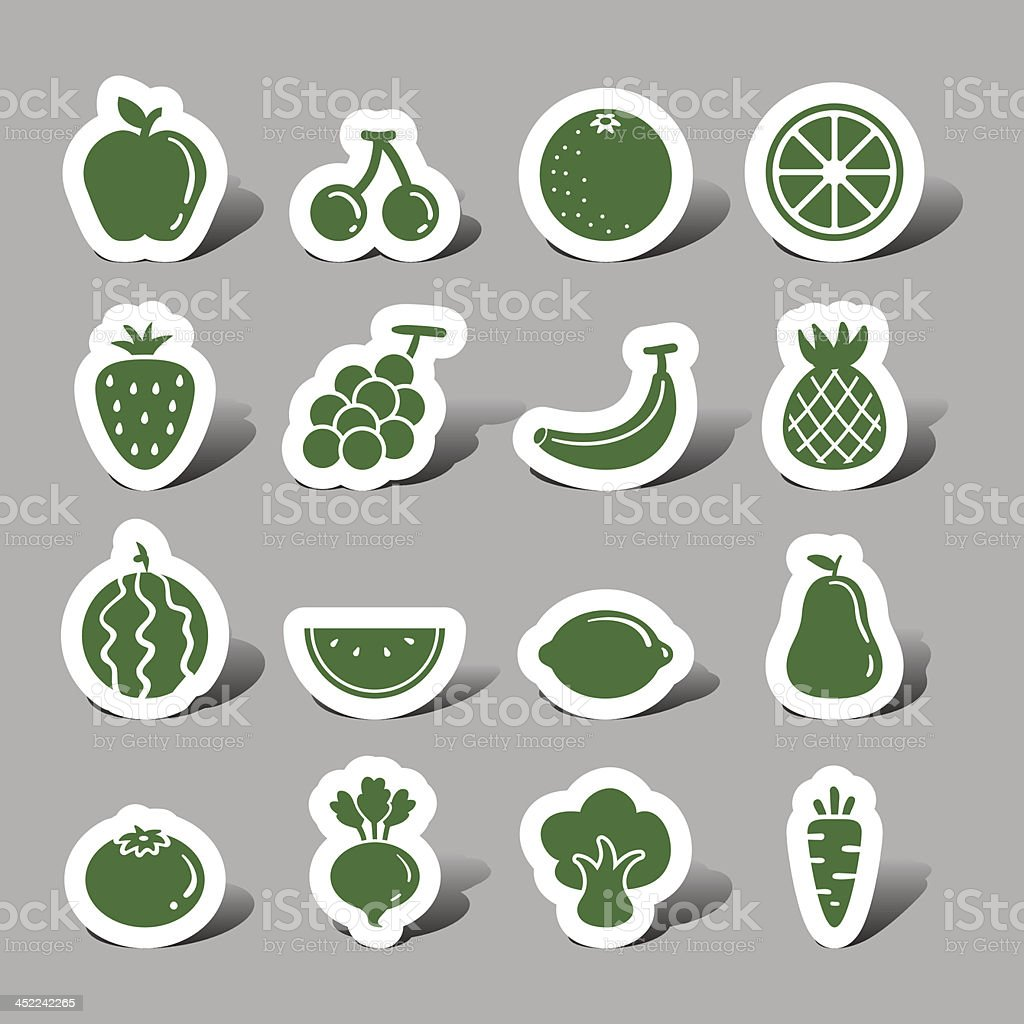 Fruit and vegetable interface icons royalty-free stock vector art
