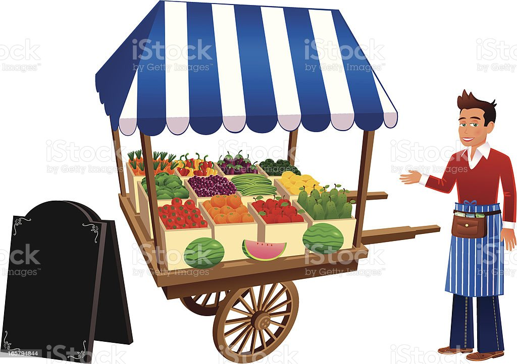 Fruit and vegetable market stall and trader vector art illustration