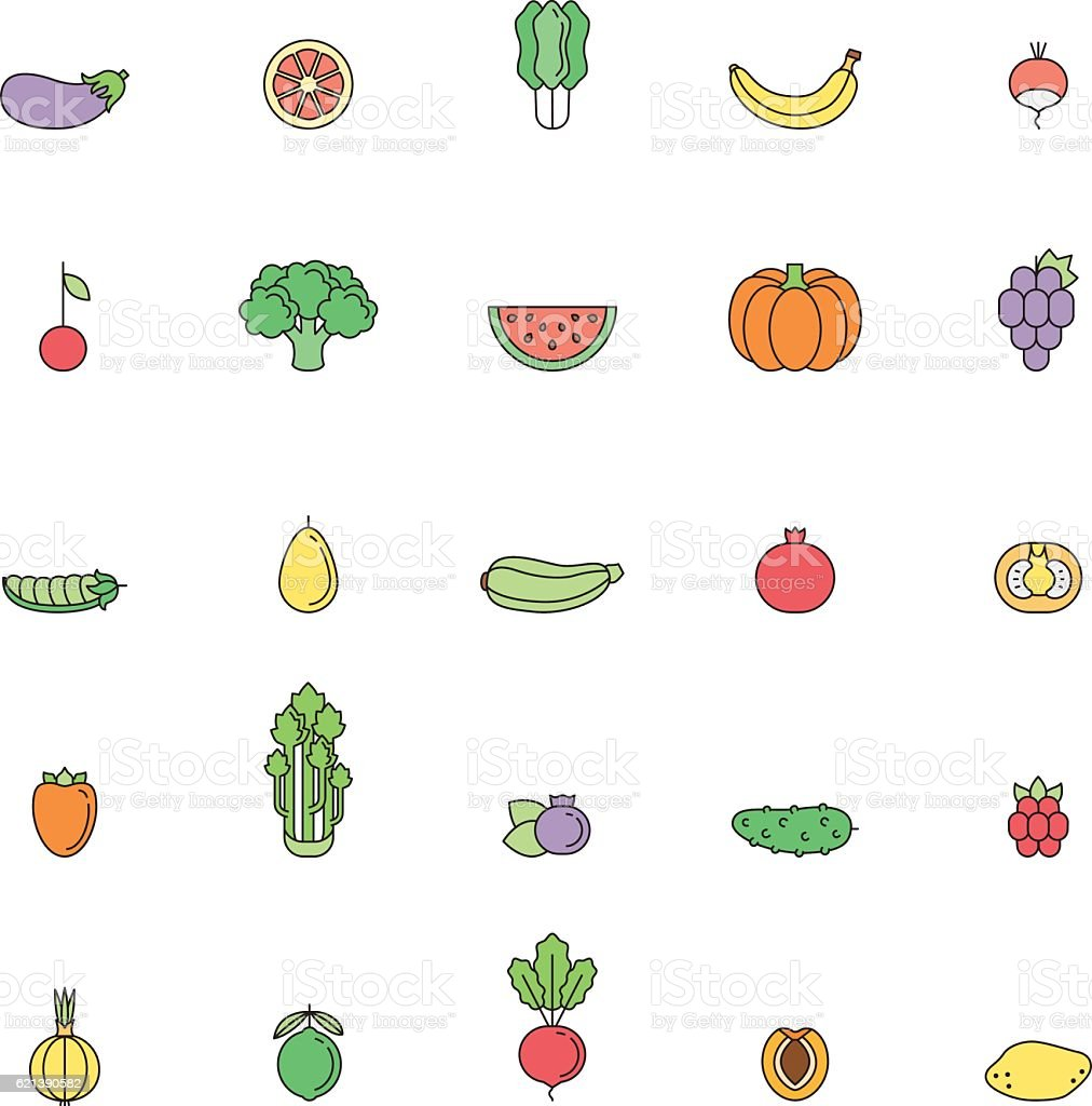 Fruit and vegetable multicolor outline icon set. Part two. vector art illustration