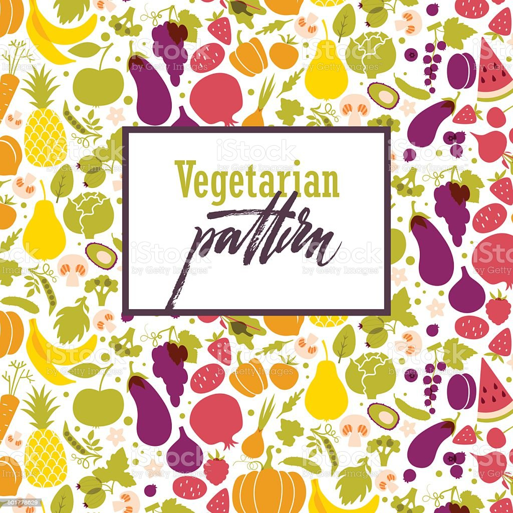Fruit and vegetable rainbow pattern vector art illustration