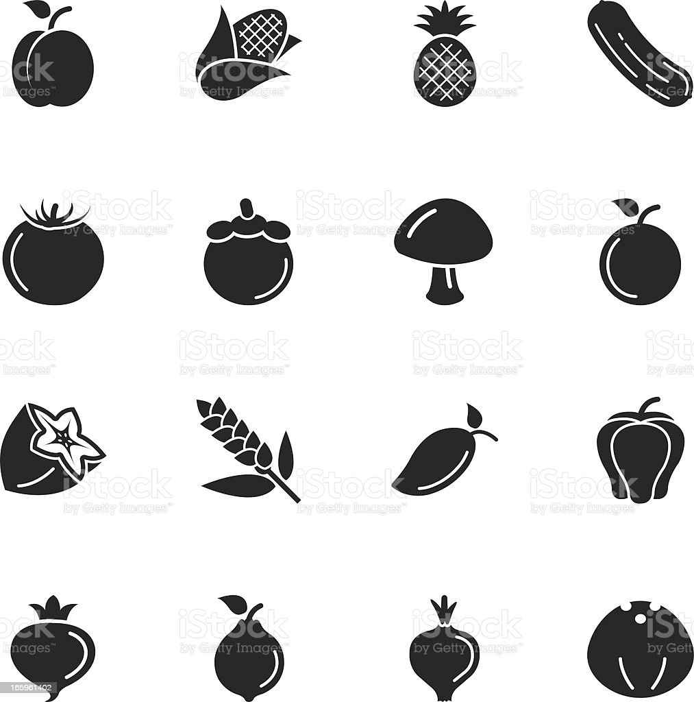 Fruit and Vegetable Silhouette Icons | Set 2 vector art illustration